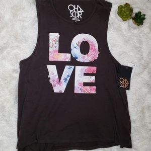 NWT Chaser floral LOVE tank / muscle tee